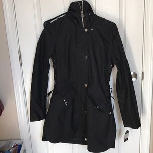 GUESS hooded black trench coat *BRAND NEW*